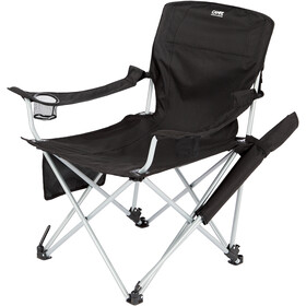 CAMPZ Lounger Folding Chair with Detachable Footrest, black